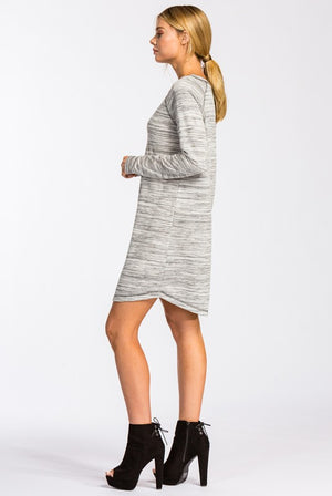 Grey Long Sleeve Raglan Dress