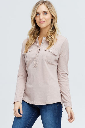 TAUPE CONTRAST STITCH DETAILED TOP