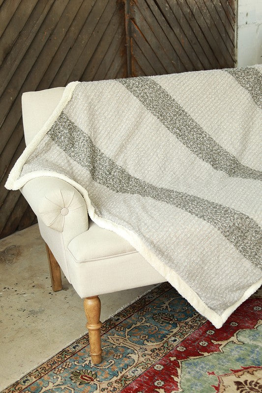 Light Grey Sherpa Blanket/Throw