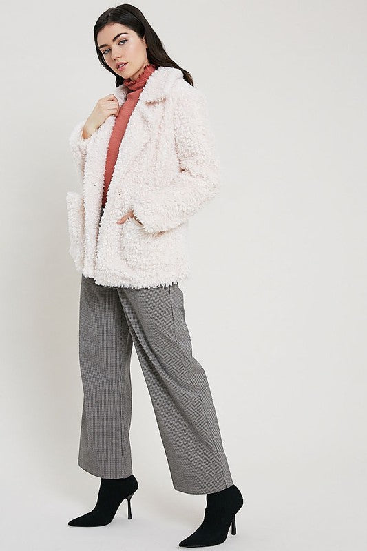 BLUSH OPEN FRONT TEDDY BEAR JACKET