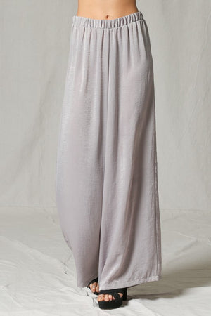 Silver Satin High Rise Wide Leg Pants