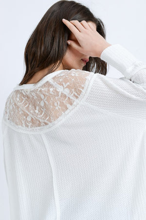 OFF WHITE LACE INSET WAFFLE KNIT TOP