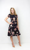 Navy Floral Dress with Bow