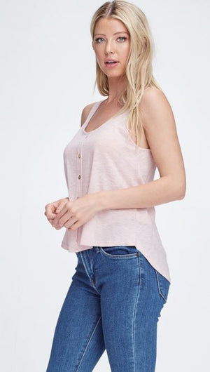 Rose Button Tank Top