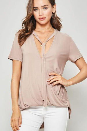 Taupe High-Low Neck-Tie Top