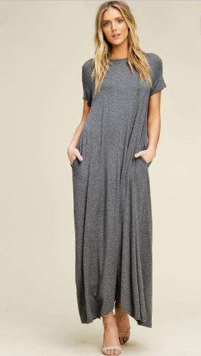 9fa27543d374 Grey Maxi Swing T-Shirt Dress - Robinson Haus