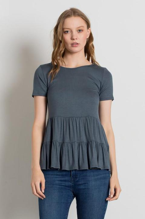 Titanium Knit Solid Gathered Ruffle Top