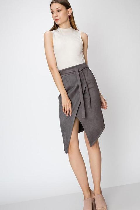 Charcoal Suede Skirt With Front Slit