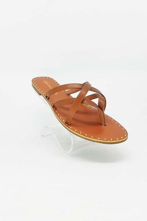 TAN STUD ACCENT STRAPPY SANDAL