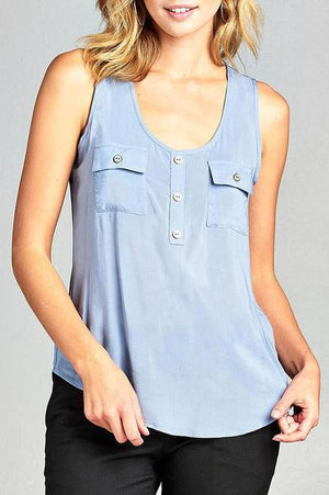 BLUE SHADOW WOVEN TANK TOP W/ FRONT DOUBLE POCKETS