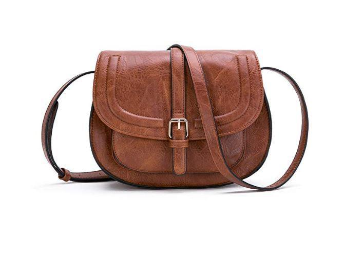 Brown Vegan Leather Cross body Bag and Saddle Shoulder Bag