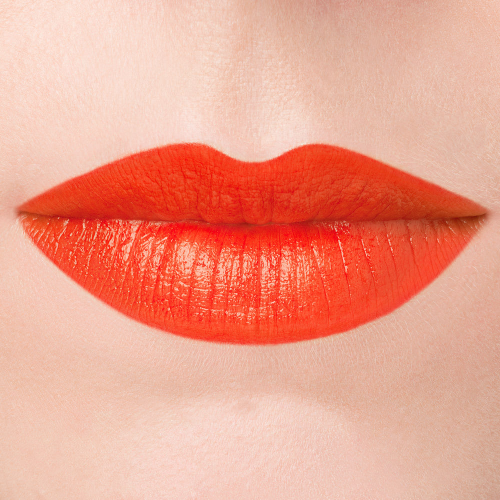 Bloodroot orange natural lipstick cruelty free botanicals makeup lip swatch