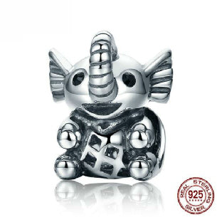 New Arrival Popular Elephant Luck 925 Sterling Silver Baby Elephant & Openwork Screw Animal Beads fit Charm Bracelet for Women Jewelry SCC202