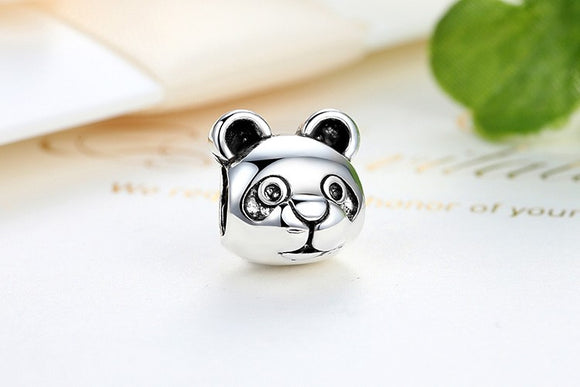 Free Shipping Authentic Silver Color Cute Panda Pattern Animal European Charms for Bead Bracelets DIY Accessories PA5291