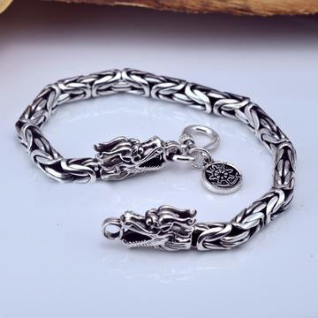 Real 925 Sterling Silver Thick Bracelet for Women and Men Double Dragon Head