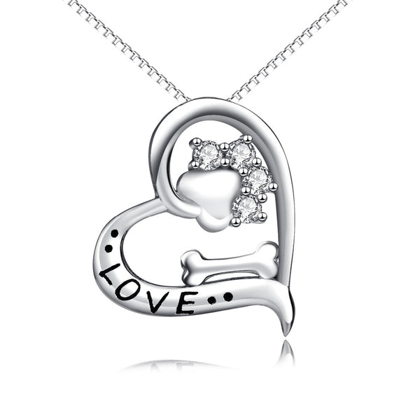New Arrival YFN Genuine 925 Sterling Silver Love Heart Crystal CZ Dog Paw Print Bone Pendant Necklace Puppy Claw Fashion Jewerly For women