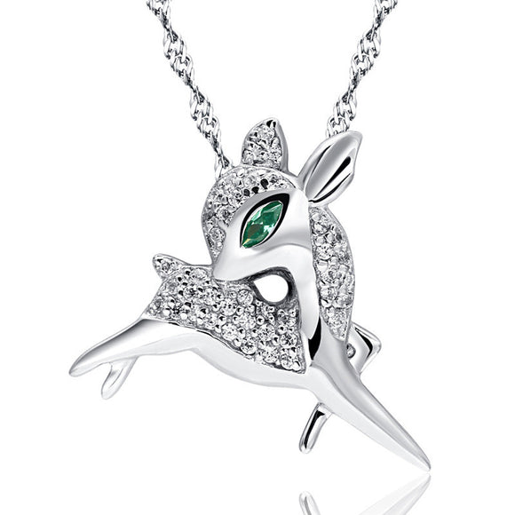 Most Popular100% Real 925 Sterling Silver Pendant for Women Fashion  Jewelry Crystal Animal Elk Pendant Zirconia Deer Pendant CP171