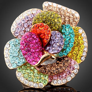 Crystal Flower Women Ring Multi-Color - Daanias