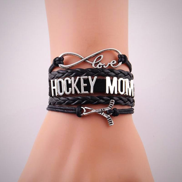 Love HOCKEY MOM Leather Bracelet-Red, Black - Daanias