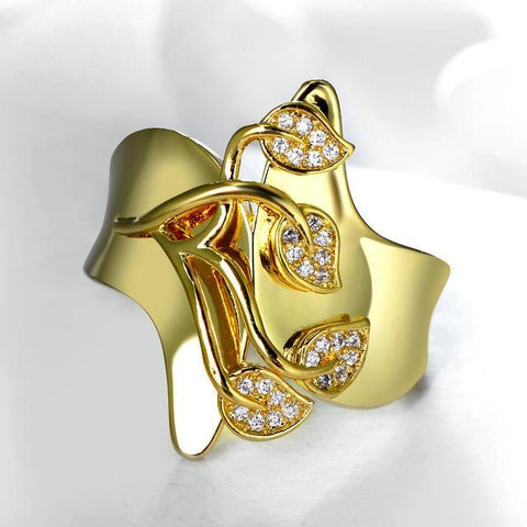 Leaf Shaped Cubic Zircon Stones Ring-Gold - Daanias