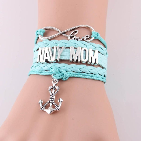 Love NAVY MOM Leather Bracelet- Multiple Colors - Daanias
