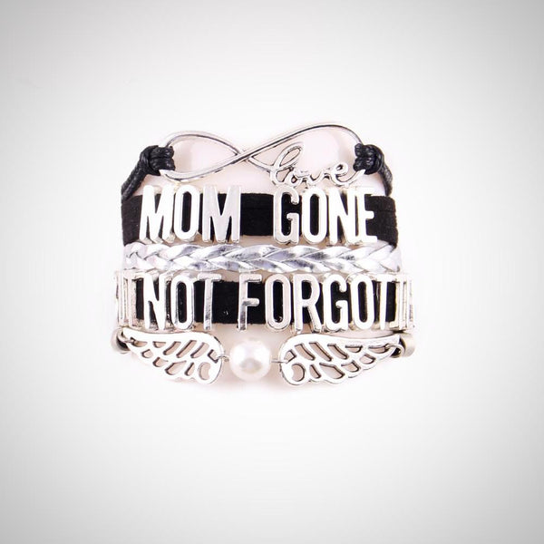Mom Gone But Not Forgotten Bracelet- Pink, Black - Daanias