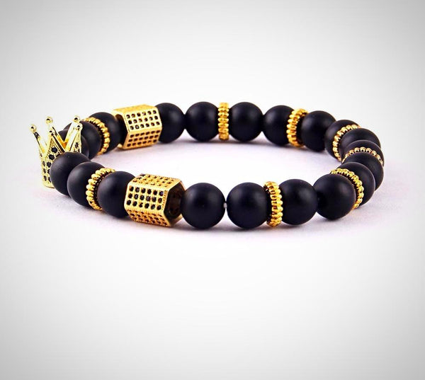 Luxury Natural Stone Bead Bracelet Gold Color Crown - Daanias