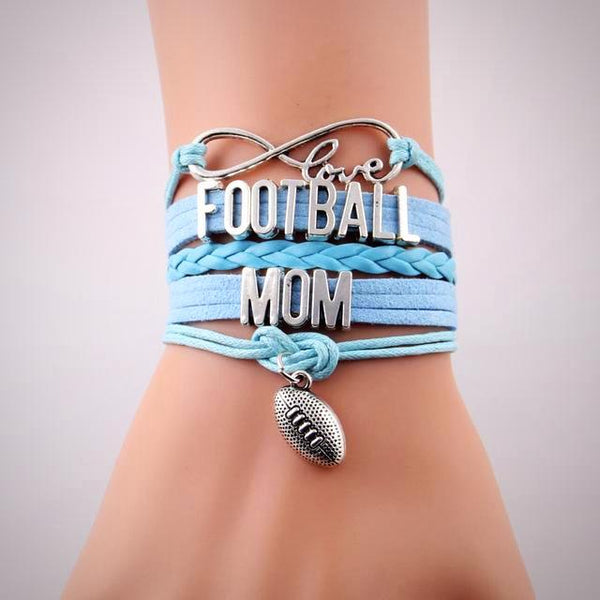 Love Football MOM Leather Bracelet- Multi Colors - Daanias