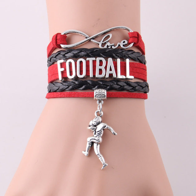 Love FOOTBALL Leather Wrap Bracelet-Red - Daanias