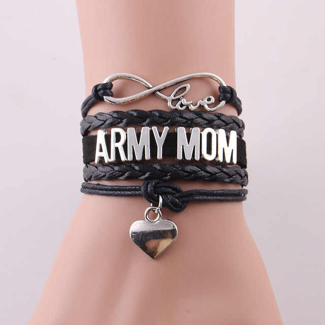 Love Army Mom Leather Bracelet - Black - Daanias