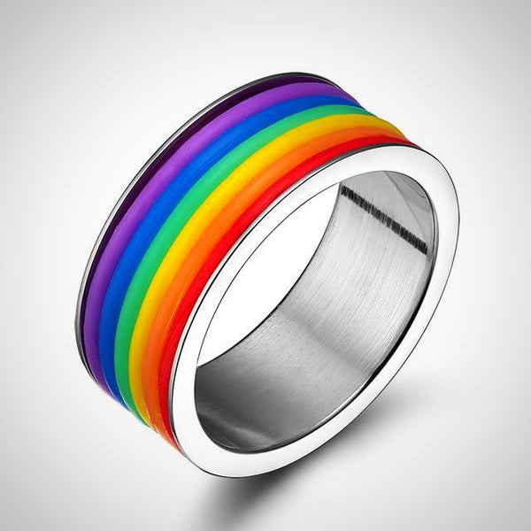 Rainbow Color Stainless Steel Ring - Daanias