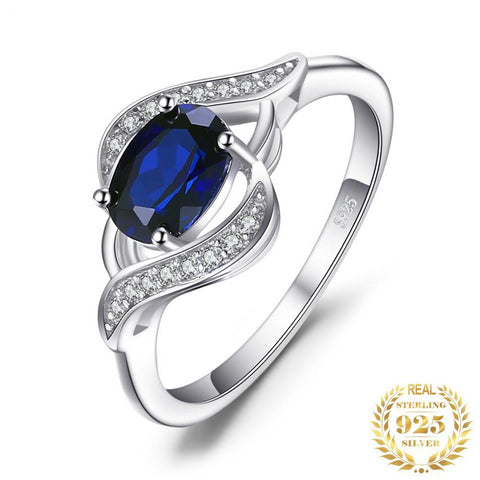 Blue Sapphire Statement Ring 925 Sterling Silver Ring-Daanias.com