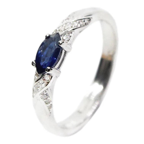 Natural Blue Sapphire Sterling Silver Ring-Daanias.com
