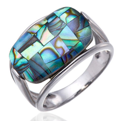 Natural Elegant Colorful Abalone Pearl Shell Solid Sterling Silver Ring For Women