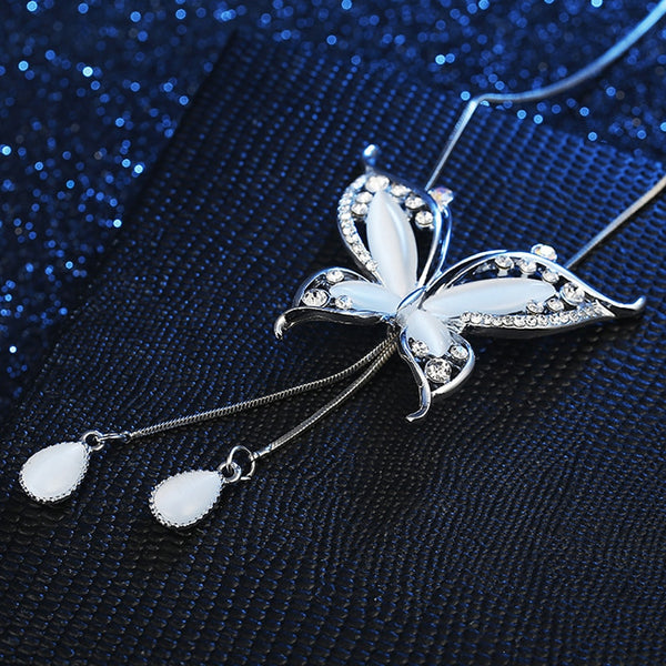 Butterfly Pendant Long Chain Necklace