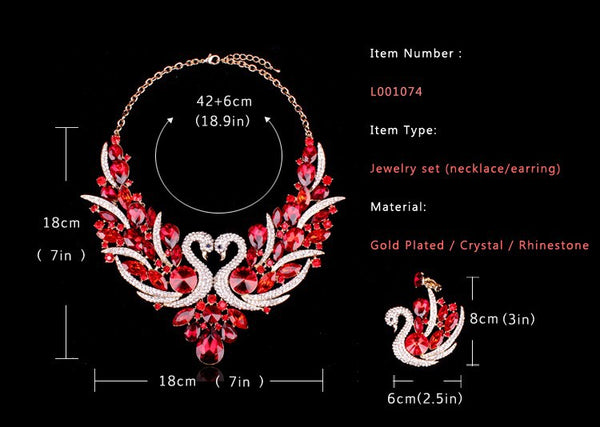 Swan Shape Crystal Necklace Earrings Set For Women Multiple Colors