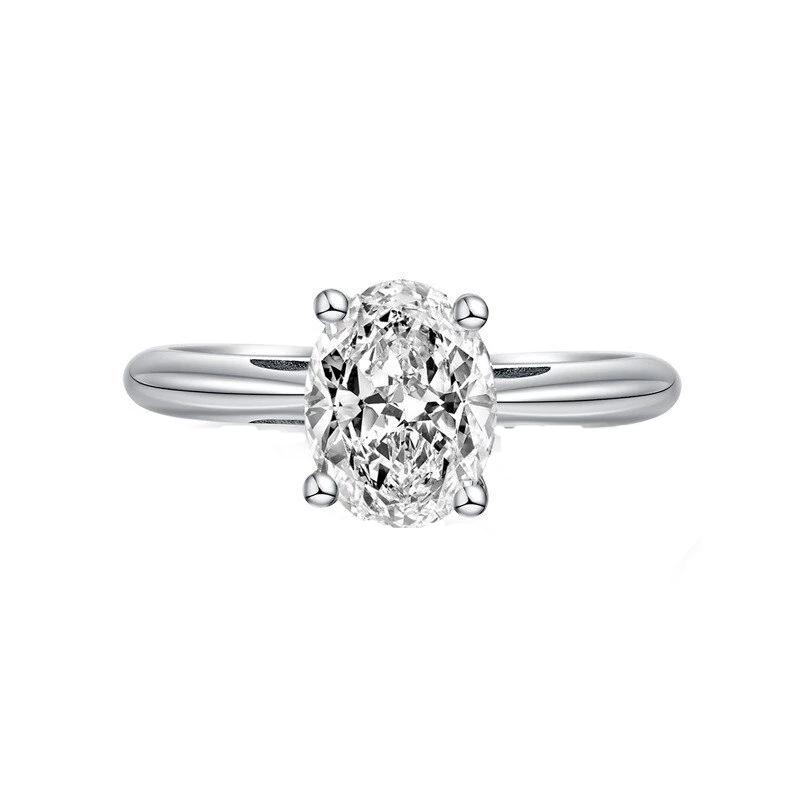 Solitaire Sona Certified Diamond Sterling Silver Ring