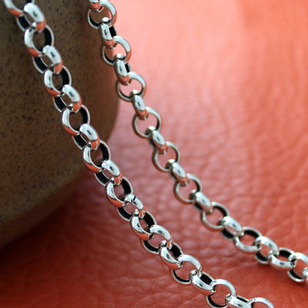 Handmade Vintage Long Sterling Silver Necklace Chain-Daanias.com