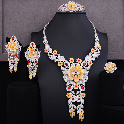 Gorgeous Lariat Flower Cubic Zircon Jewelry Sets For Women