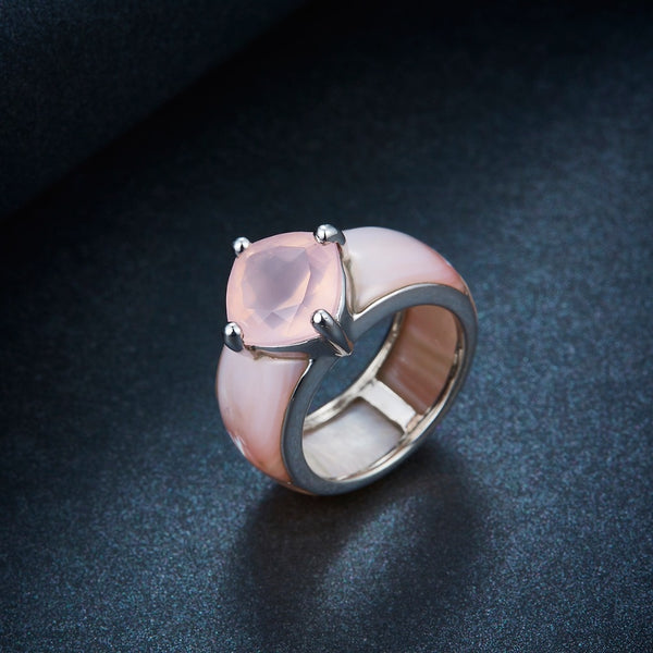 Unique Pink Rose Natural Shell Quartz Gemstone Sterling Silver Ring