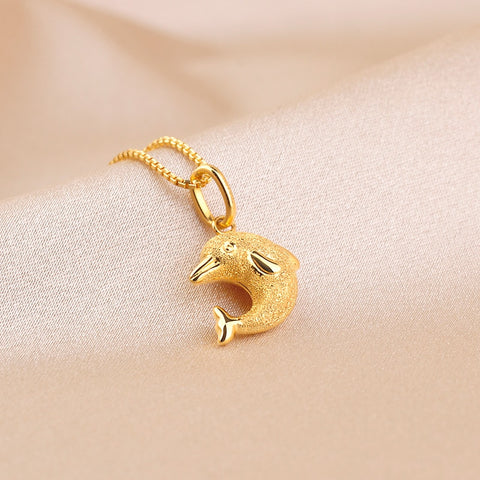 Beautiful Dolphin Charm Pendant 18K Gold - Daanias.com
