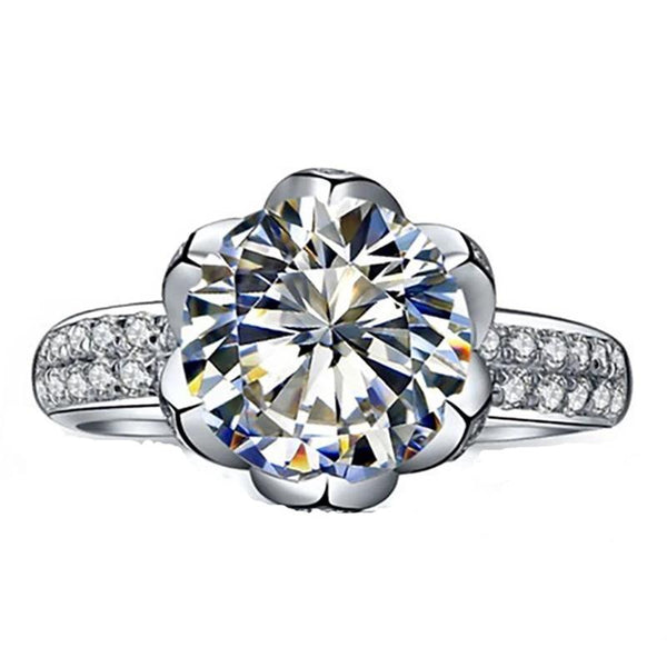 Lotus Queen Round Cut Wedding Engagement - Ring
