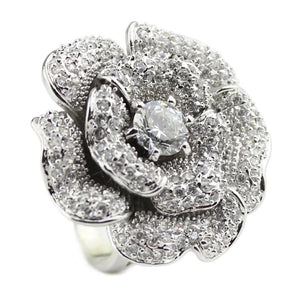Luxury Big Rose Flower Ring With Cubic Zircon - Women
