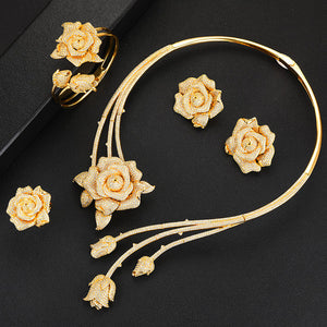 Luxurious Flower Statement Jewelry Sets For Women