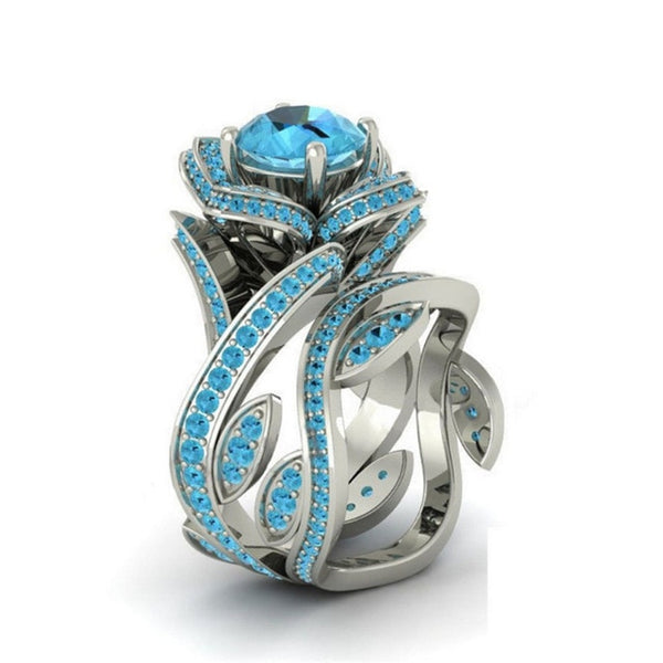 Big Luxury Rose Flower Ring For Woman - 7 Colors