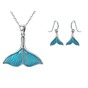 Whale's Tail Sterling Silver Necklace and Earring Jewelry Set for Women