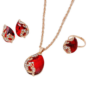 Shiny Water-Drop Shape Rhinestone Necklace Earrings Ring Jewelry Set