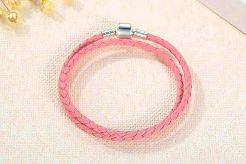 Sterling Silver Two Circle Pink Genuine Leather Bracelet - Daanias