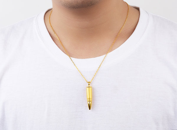 Golden BULLET Pendant 24K Pure Gold- Men -Daanias.com