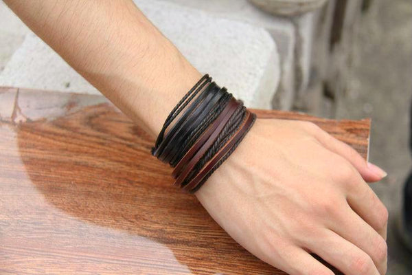 Friendship Bracelet Genuine Leather Braided Rope - Black & Brown - Daanias